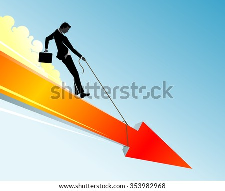 Braking Financial Loss-Conceptual business illustration of a businessman trying to ease the fall or downtrend
