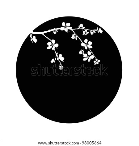Branch of cherry blossom in black circle - stock vector