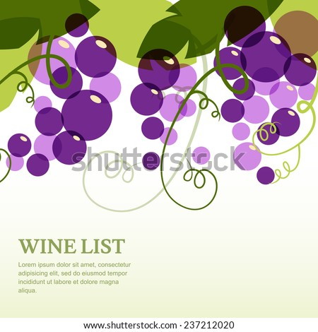 Branch of grape with leaves. Abstract vector background design template with place for text. Concept for wine list, menu, cover, flyer, brochure, poster. - stock vector