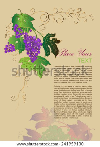 Branch of grapes, simple template advertising flyer. Best for web banners, booklet, menus. Vector.