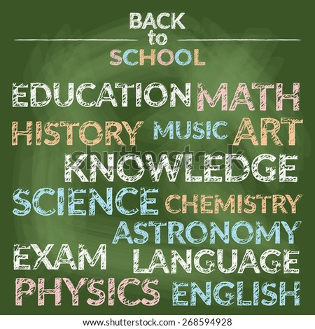 Branch of Knowledge Words Chalk Drawing Style, School, Education, Learning and Study - stock vector