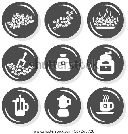 branch seeds grind grinder pot coffee time cafe drink related button set isolated on white background  - stock vector