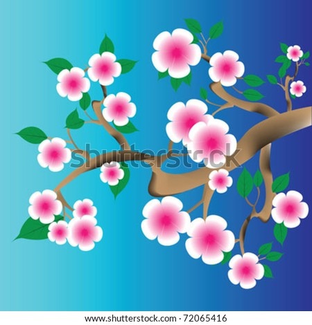 branch with flower - stock vector