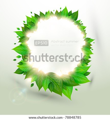 branch with fresh green leaves and sun shine, circle frame - stock vector