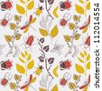 branch with leaves and insects, seamless pattern - stock vector