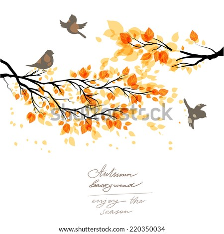 Branch with yellow leaves and birds. Copy space. - stock vector