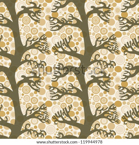 Branches and bubbles seamless pattern - brown tones