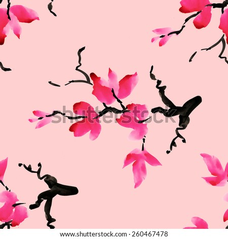 Branches of blooming magnolia flowers, spring watercolor seamless pattern on pink background vector illustration