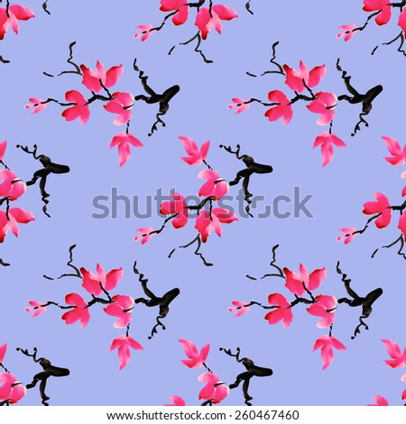 Branches of blooming magnolia flowers, spring watercolor seamless pattern on violet background vector illustration