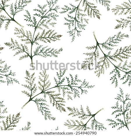 Branches of plants seamless watercolor pattern  - stock vector