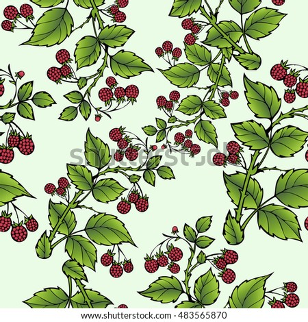 Branches of raspberry seamless pattern, berry background. Drawing fruit, graphic art, cartoon. For the design of the fabric, print, wallpaper, wrapping. Vector illustration