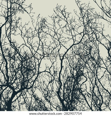 branches silhouette. detailed vector illustration - stock vector