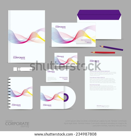 Brand identity company style template demonstrated on office supplies and stationery for businesses. Consist of business cards, A4 letterheads, folder, pencils and envelopes.