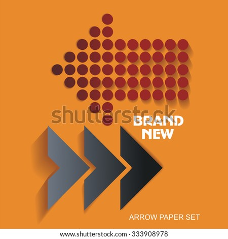 Brand New stickers and tags, paper arrows - stock vector
