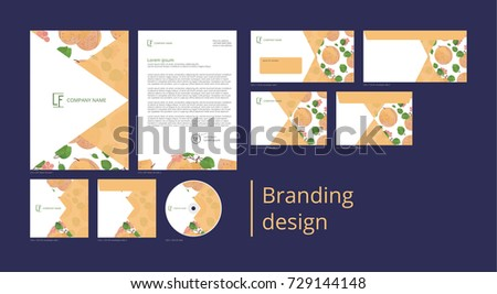 Branding and corporate identity design with pattern apricot and flowers