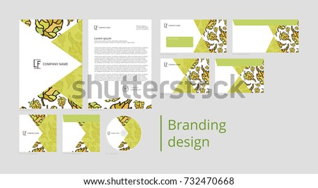 Branding and corporate identity design with pattern autumn leaves