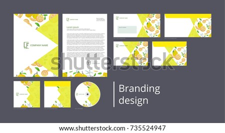 Branding and corporate identity design with pattern lemons and flowers