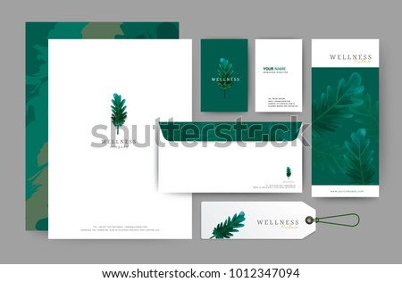 Branding identity template corporate company design, Set for business hotel, resort, spa, luxury premium logo, Green leave tropical style, vector illustration