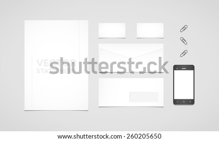 Branding identity template. Letterhead, envelope, business card, smartphone and paperclips. Flat design - stock vector