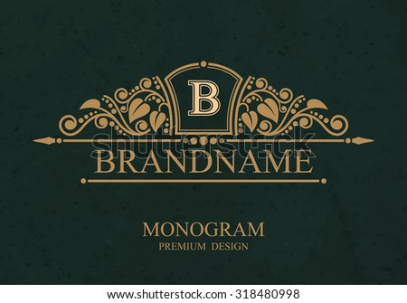 Brandname Monogram logo template with flourishes calligraphic elegant ornament elements, Elegant line art logo, Business sign for Royalty, Boutique, Cafe, Hotel, Heraldic, Jewelry, Wine - stock vector