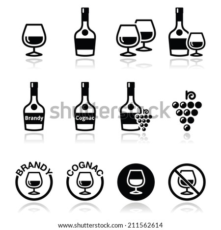 Brandy and cognac vector icons set  - stock vector