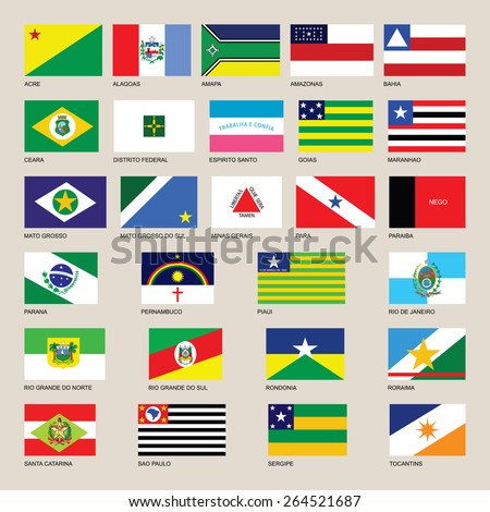 Brasil.Brazil symbols and states flags. Brazil flag vector, Original and simple Brazil state flag collection isolated vector in official colors and Proportion Correctly