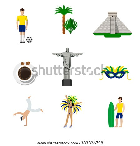 Brasil Brazilian national icons. Flat style vector icon set. Football soccer player palm pyramid Jesus Rio de Janeiro coffee bean sexy female carnival samba dancer surfer capoeira fighter martial art. - stock vector