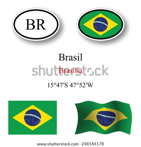 brasil icons set icons set against white background, abstract vector art illustration, image contains transparency - stock vector