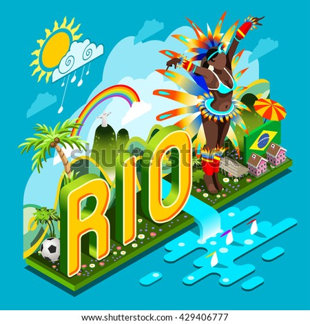 Brasil Rio Summer Games Infographic.Sport Event for Smartphone or Tablet Device. Sports Recreation Infographic. Landmark Soccer Signs and Symbols Carnival Brazil Flag. 3D Isometric Vector Illustration