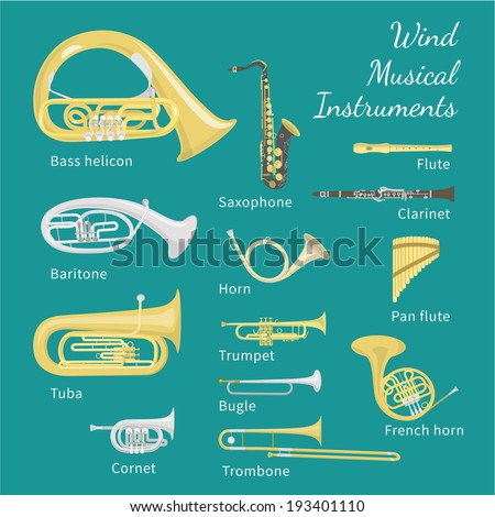 Brass and woodwind instruments. Flat style vector illustration. Various classical orchestral musical wind instruments, concert stage brass section, traditional national musical instruments. - stock vector