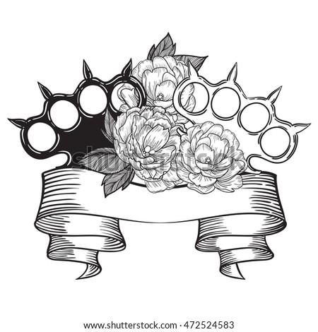 brass knuckles roses old school tattoo stock vector 472524583 shutterstock. Black Bedroom Furniture Sets. Home Design Ideas