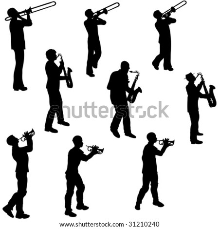 Brass Musician Silhouettes - stock vector