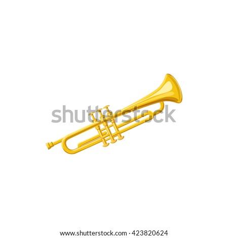 Brass trumpet icon - stock vector