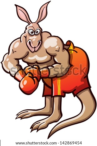 Brave and athletic kangaroo wearing red gloves and short pants, posing and preparing to fight in a boxing championship