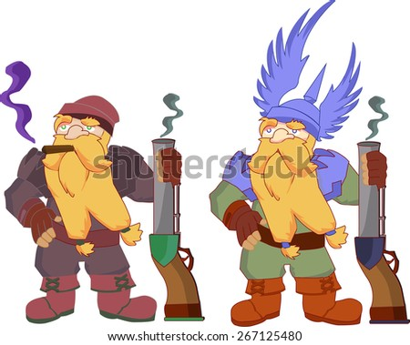 Brave dwarfs game characters - stock vector