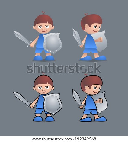 Brave Little Knight. Cartoon young boy as a little knight, holding sword and shield. - stock vector