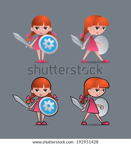 Brave Little Knight (Joan of Arc). Cartoon young girl as a little knight, holding sword and shield - stock vector