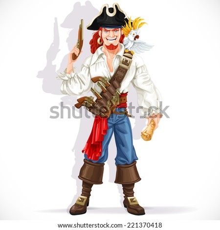 Brave pirate with pistol hold pirate treasure map isolated on a white background - stock vector