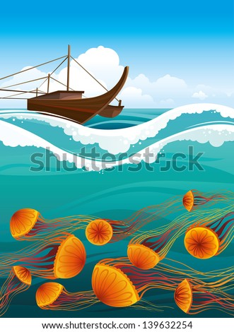 Brawn boat and cartoon orange jellyfish floating in the blue sea. Underwater life. - stock vector