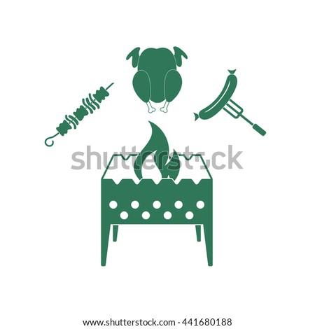 Brazier, kebab, chic?en and sausage icon. Vector illustration