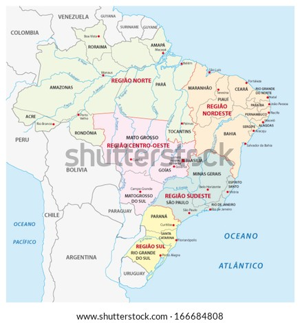 brazil administrative map - stock vector