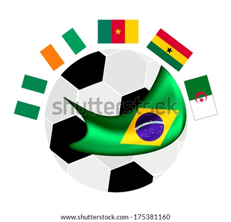 Brazil , An Illustration of The Flags of Africa Zone Countries Around A Soccer Ball of Football Championship Qualification in Brazil.  - stock vector