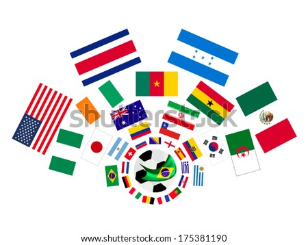 Brazil , An Illustration of The Flags of 32 Teams Around A Soccer Ball of of Football Championship in Brazil.  - stock vector