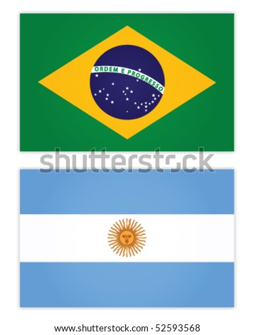 Brazil and Argentine Flag - stock vector