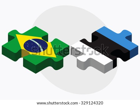 Brazil and Estonia Flags in puzzle isolated on white background - stock vector