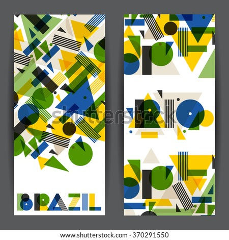 Brazil and Rio banners in abstract geometric style. Design for covers, tourist brochure, advertising background. - stock vector