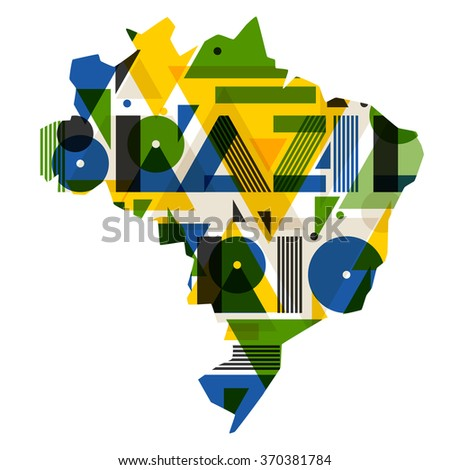 Brazil and Rio with map in abstract geometric style. Design for print on t-shirts, tourist brochure, advertising banner. - stock vector