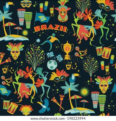 Brazil background. Seamless pattern - stock vector