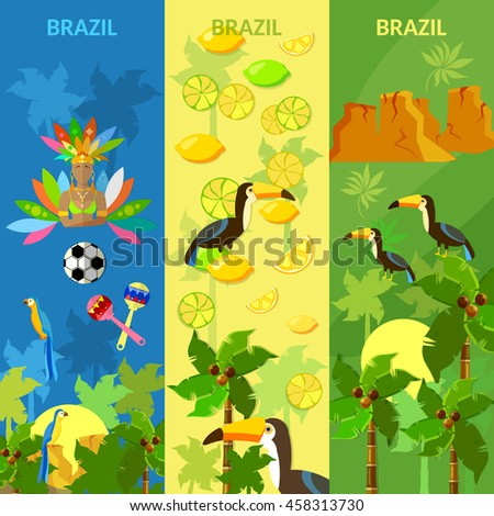 Brazil banners Rio de Janeiro brazilian culture and attractions girl in carnival costume vector illustration - stock vector