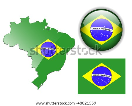 Brazil, Brazilian flag, map and glossy button, vector illustration set. - stock vector